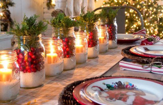 decoracao mesa natal criativa frascos