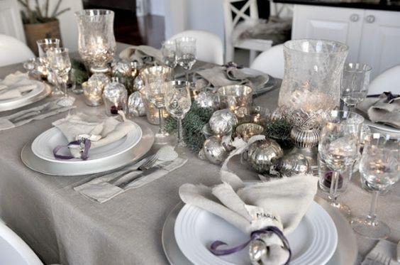 decoracao mesa natal prateada bolas