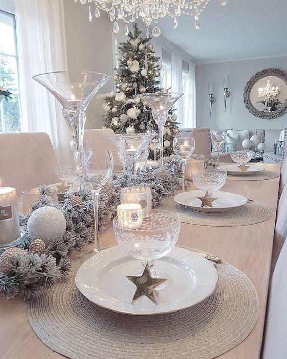 decoracao mesa natal prateada