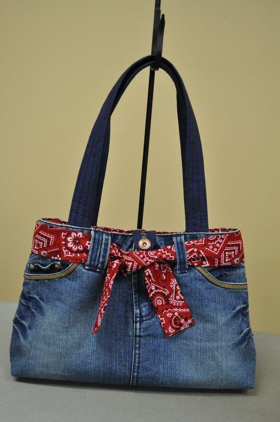 reciclar jeans velhos bolsa laco