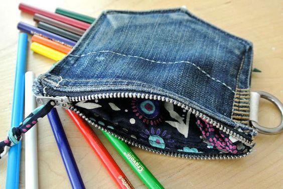 reciclar jeans velhos porta moedas bolsa